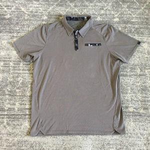 Oakley Men XL Shirt Gray Polo Button Down Hydrolix